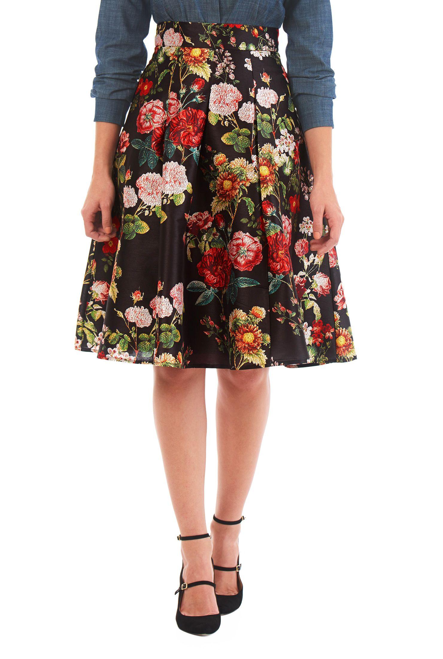 Floral print dupioni pleat skirt  Fashion clothes women, Fashion