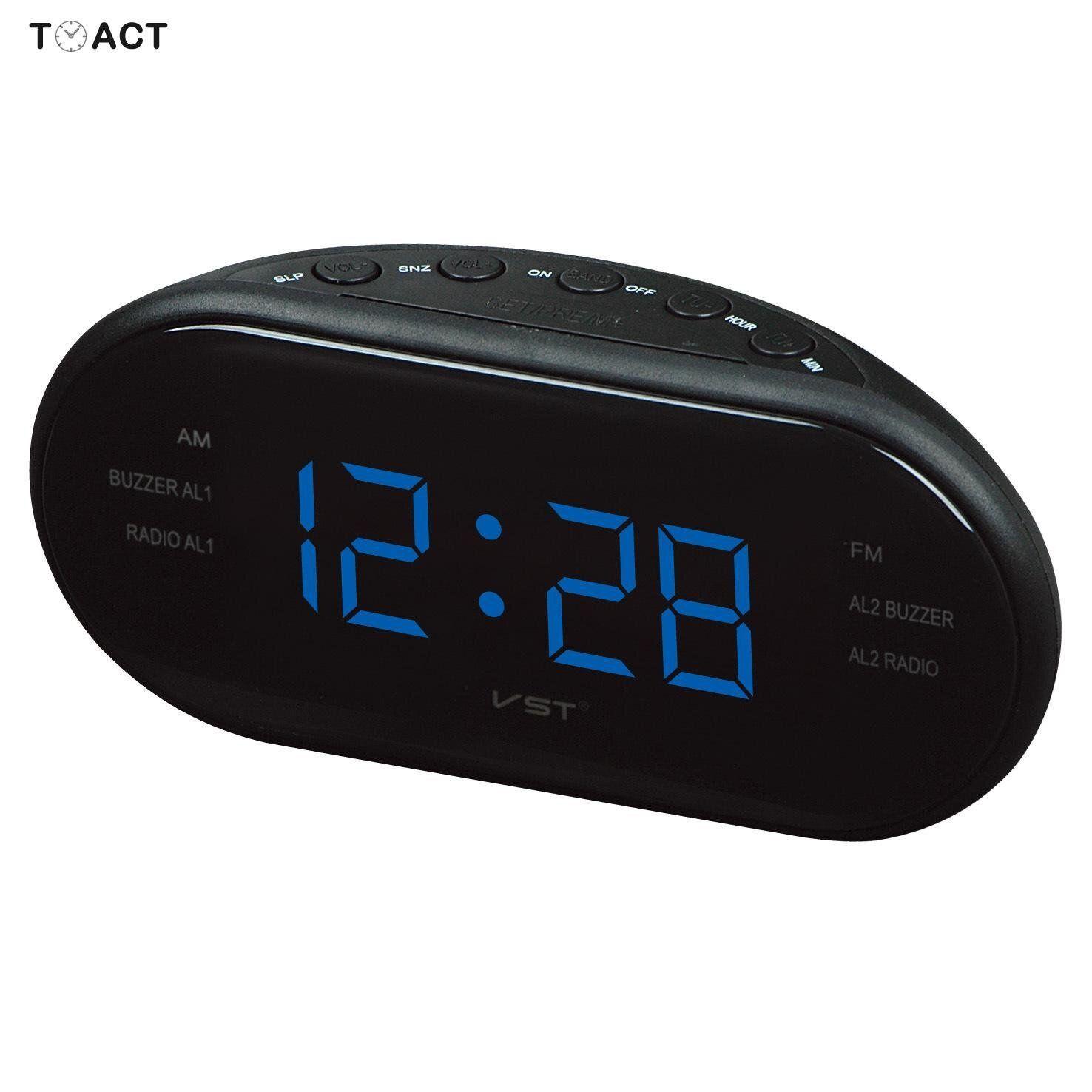 Fm Radio Alarm Clocks Led Digital Luminous Alarm Clock Electronic Watch Table Modern Design Circular Snooze Function Home Decor Radio Alarm Clock Digital Table Clock Led Clock