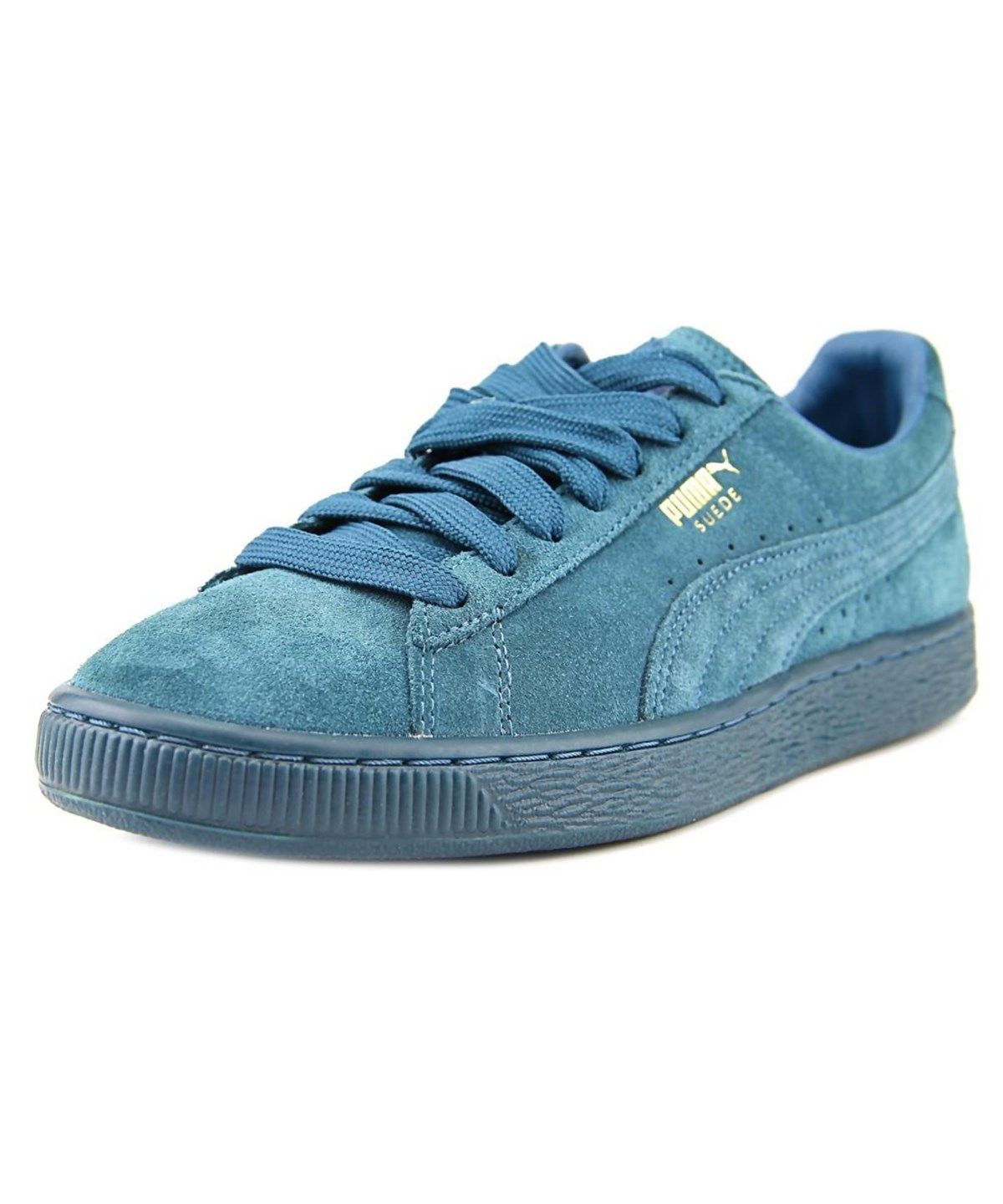 PUMA Men's Suede Classic - Mono Iced Sneaker Blue Coral/Team Gold M: The Puma  Suede Classic + Mono Athletic feature a Suede upper with a Round Toe .