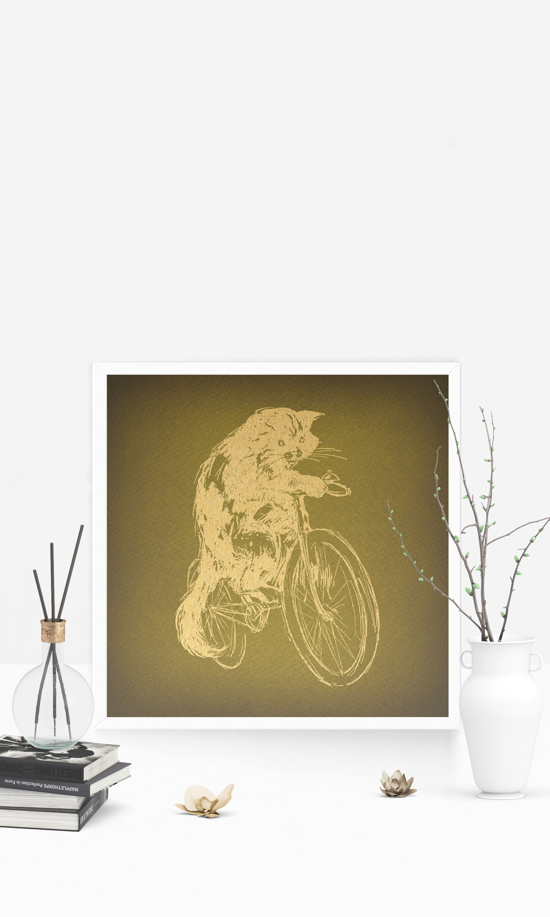Classic Vintage Cat Riding Bicycle Wall Art & Home Decoration ...