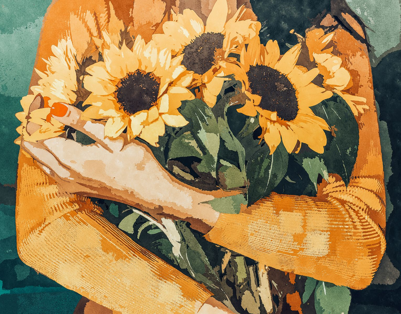 Holding Sunflowers, Woman Flowers Botanical Nature Painting, Boho Plant Lady Vintage Illustration Art Print