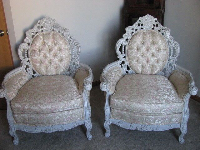 Beautiful Vintage Pair Of carved Chairs - wont last long!!