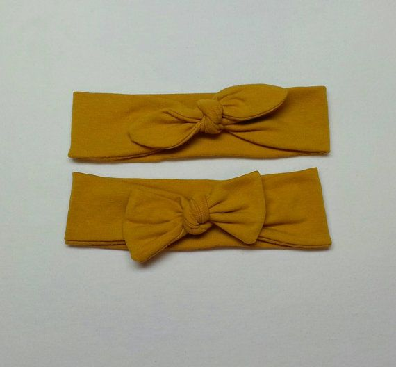 Mustard Yellow Knotted Headband by sewsosweetlove on Etsy
