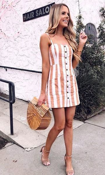 Summer Fashion Outfits 2019 - Striped One-Piece Dress 2