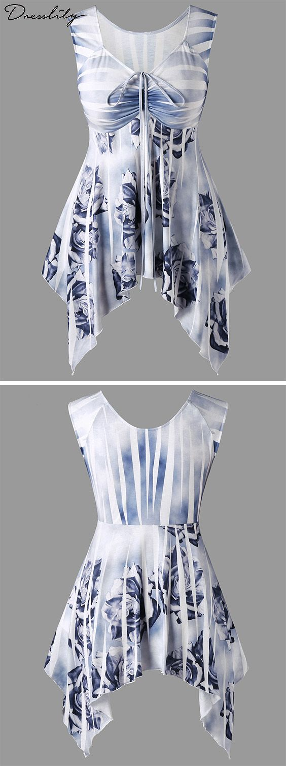 Plus Size Drawstring Floral Handkerchief Top is part of Cheap School Clothes - Fashion Clothing Site with greatest number of Latest casual style Dresses as well as other categories such as men, kids, swimwear at a affordable price