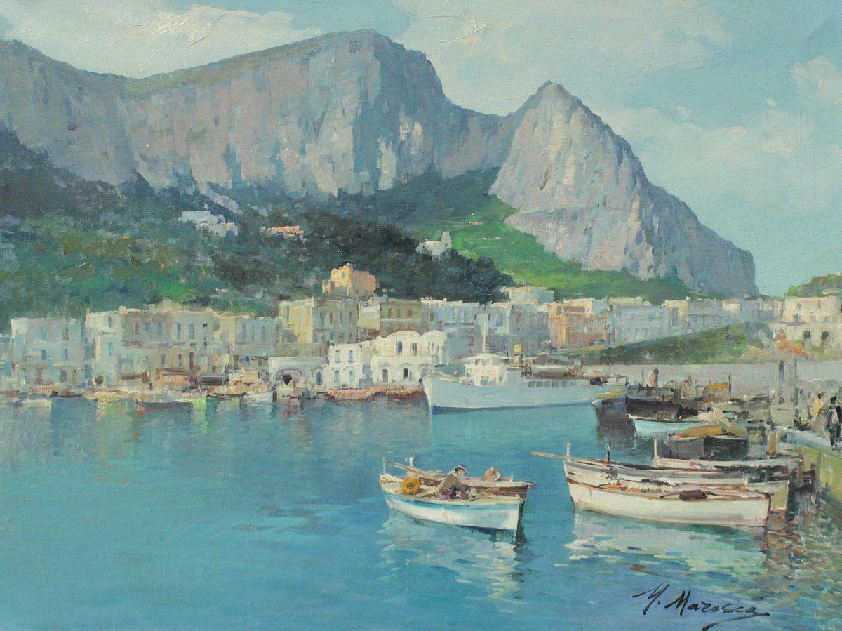 MARESCA, Mario, (Italian, 1877-1959): \'\'Amalfi Coast\'\', Oil/Canvas ...