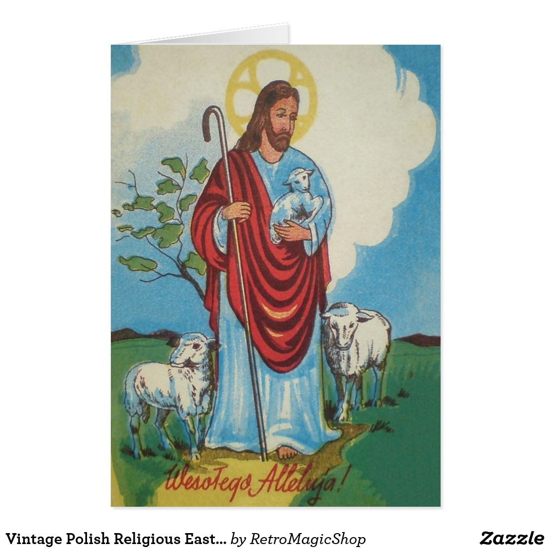 Vintage Polish Religious Easter Greeting Card Easter Greeting