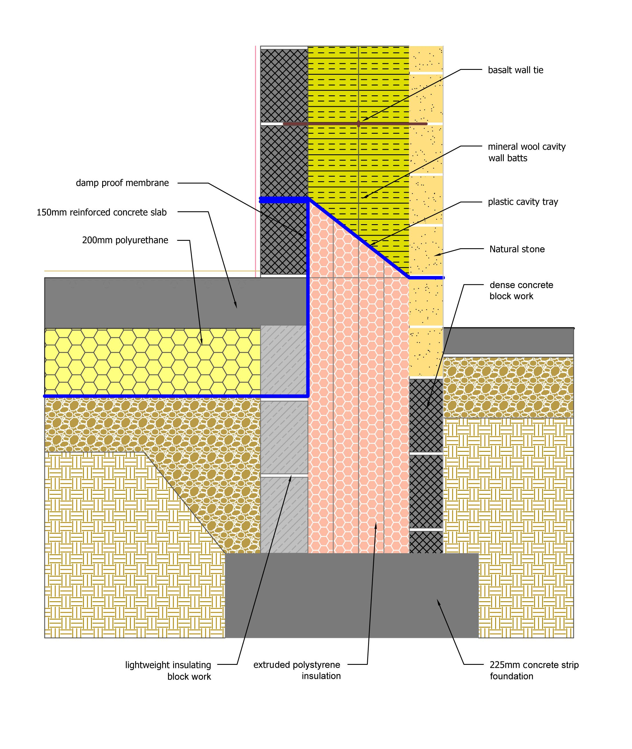 Golcar Passivhaus ground floor and foundations detailing. Copyright ...
