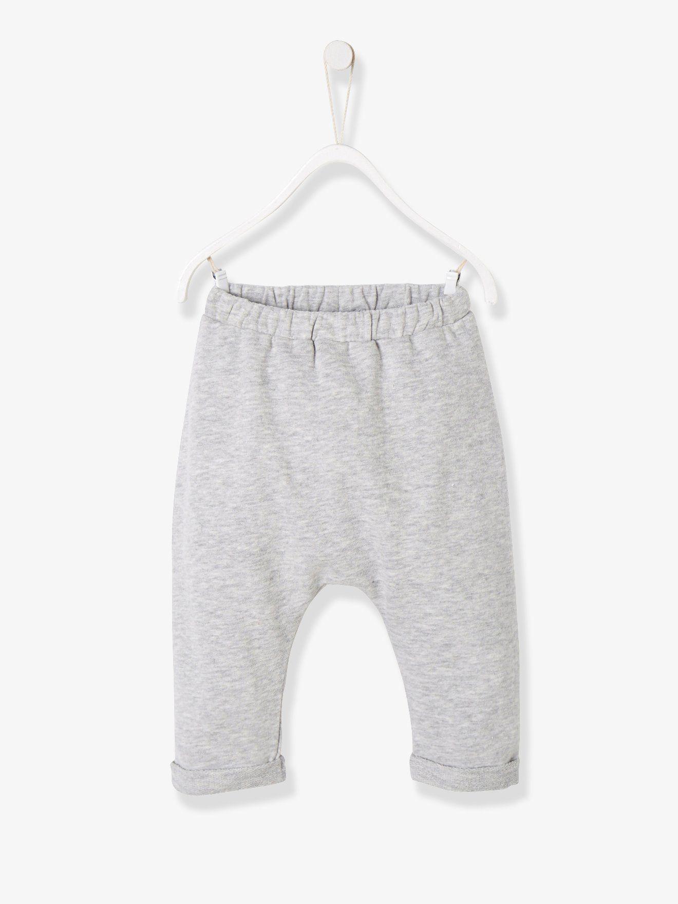 17f04d06e94f4 Pantalon volume sarouel bébé naissance en molleton gris chiné - Le bon  petit pantalon, tout