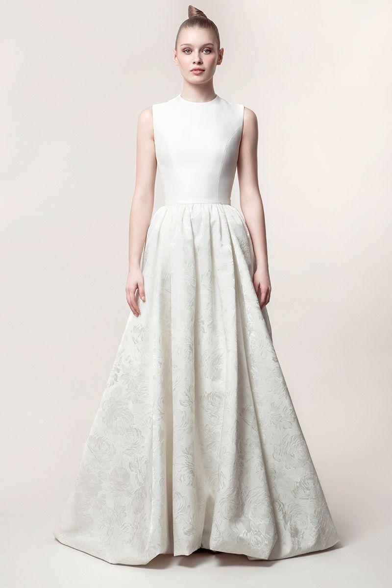 CLAIRE: vestido de novia de volumen con bajo abullonado en tejido ...