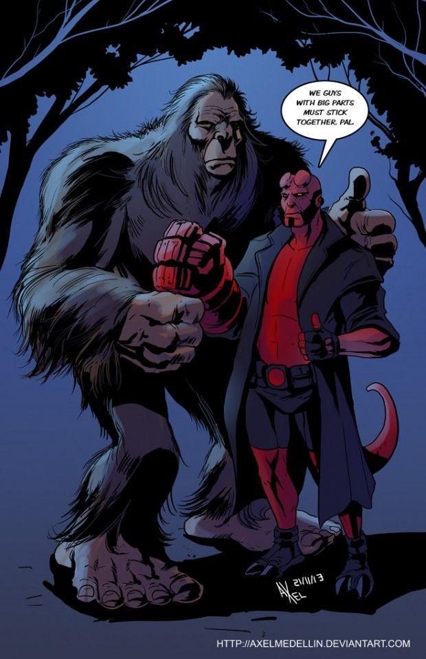 Bigfoot And Hellboy Bigfoot Yeti Bigfoot