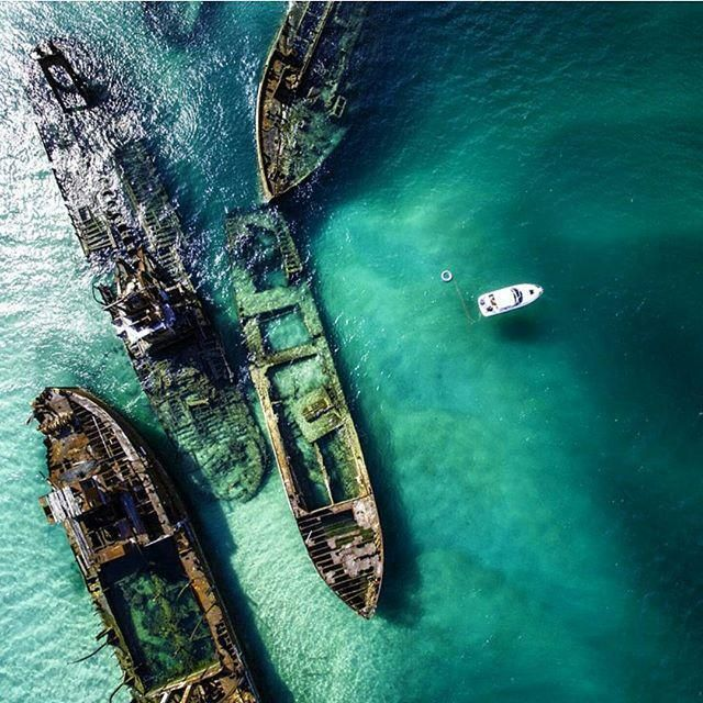 Tangalooma Wrecks, Moreton Island. Queensland, #Australia