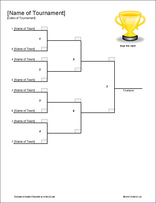 Download the single elimination bracket template from for Game bracket template