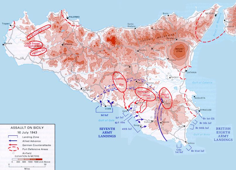 Map map noting the allied assault on sicily italy 10 jul 1943 map noting the allied assault on sicily italy 10 jul 1943 source united states military academy gumiabroncs Images