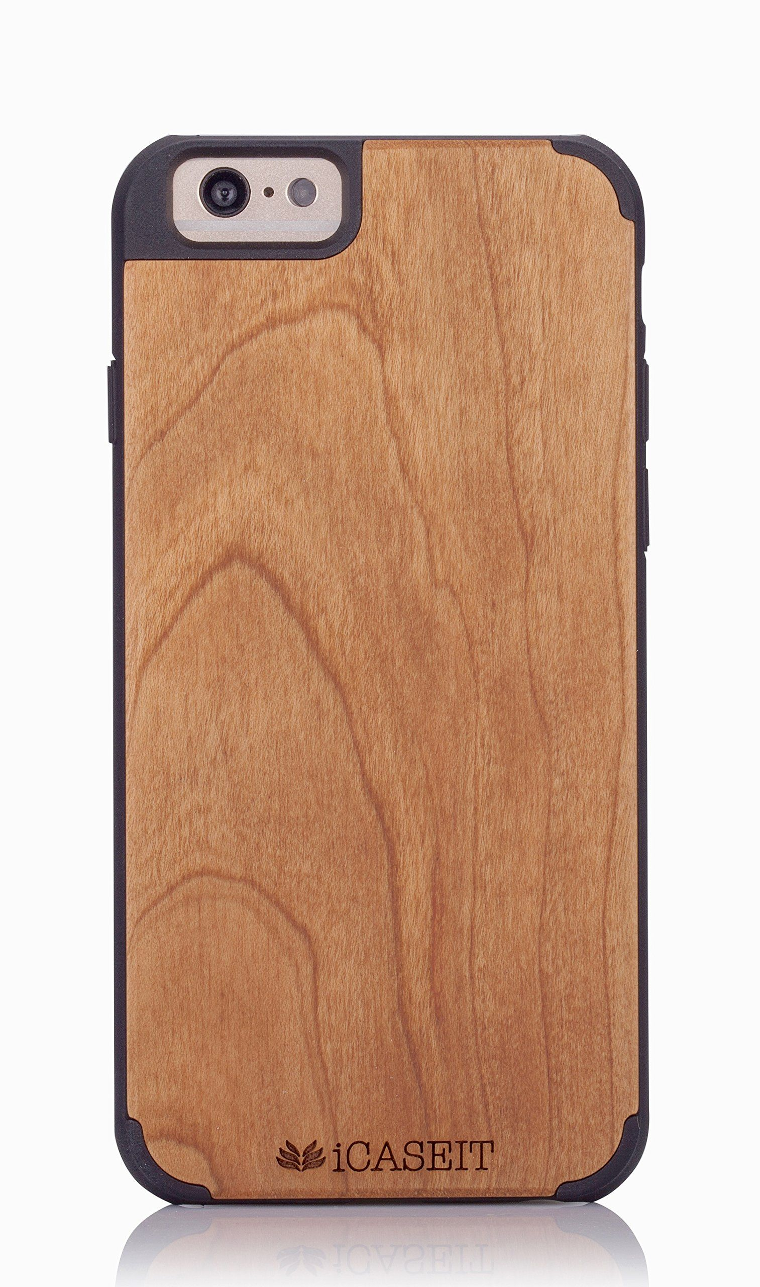 """iCASEIT Wood iPhone Case - Genuinely Natural, Unique & Premium quality for iPhone 6 (4.7"""" Display) - Cherry / Black"""