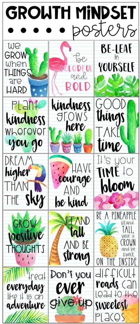Growth Mindset Posters - Tropical Theme #classroomdecor