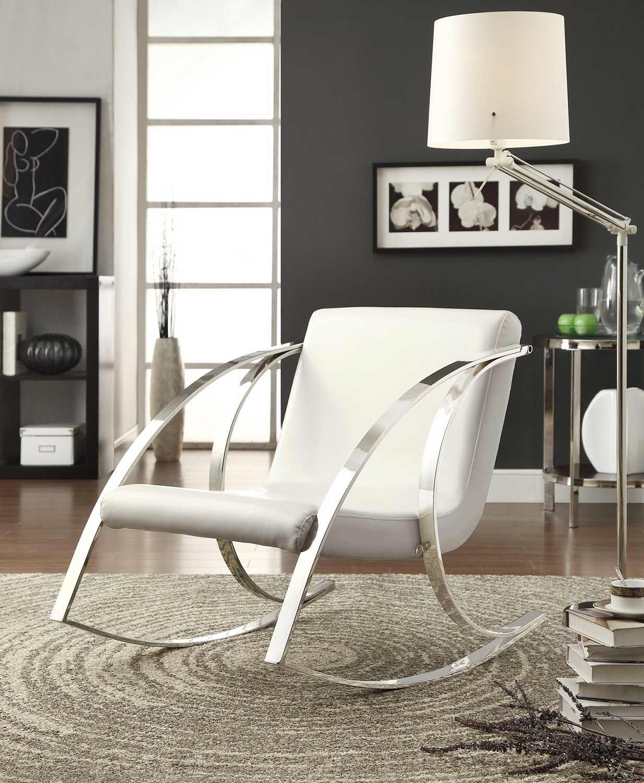 Coaster 902147 Casual Chair White White Metal Chairs