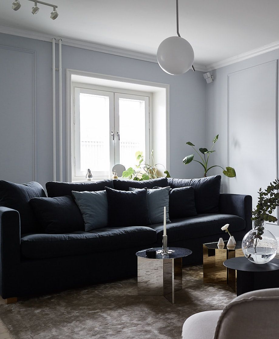 Elegant home in blue grey via Coco