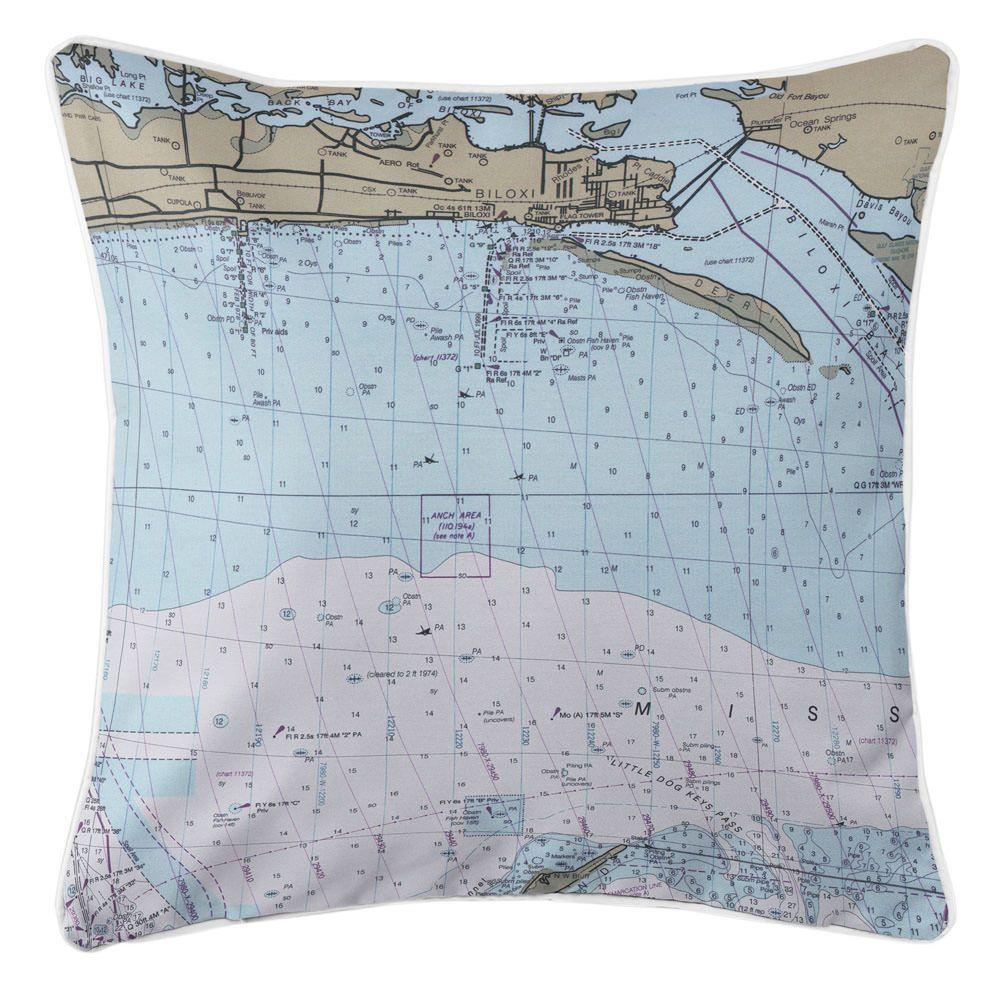 MS: Biloxi, MS Nautical Chart Pillow