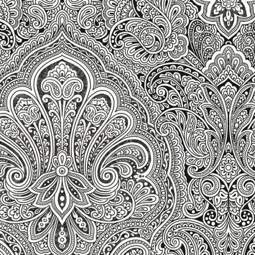 Black And White Paisley Wallpaper BW28703