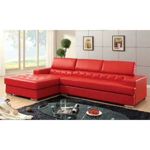 Furniture Of America Contreras Tufted Leather Sectional In Red
