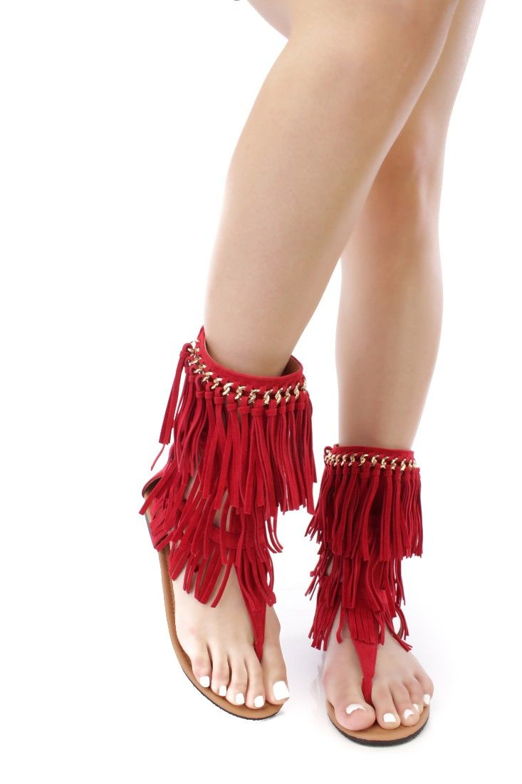 2d4cbbef94c6 Red Chain Trimmed Fringe Gladiator Sandals Faux Suede