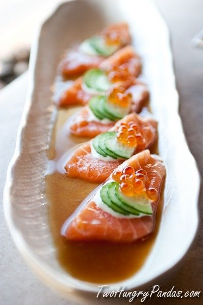 Salmon sashimi with wasabi sour cream this is only a for Sashimi dressing