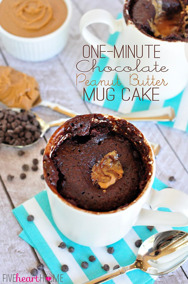 One-Minute Chocolate Peanut Butter Mug Cake ~ warm, gooey, chocolate cake with a molten peanut butter center, ready in a flash! | FiveHeartHome.com