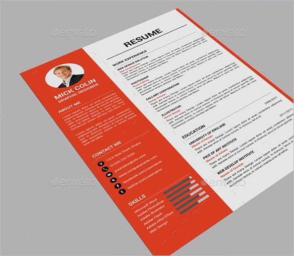 41+ One Page Resume Templates u2013 Free Samples, Examples, \ Formats - single page resume format download