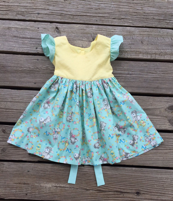 Spring Bunny dress Baby girl flutter sleeve dress Retro style