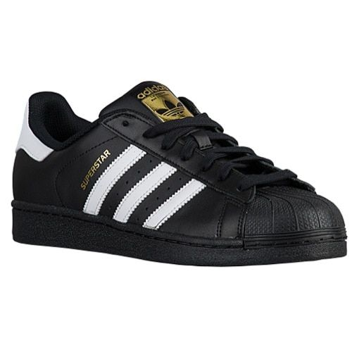 adidas men's superstar black white gold shoes