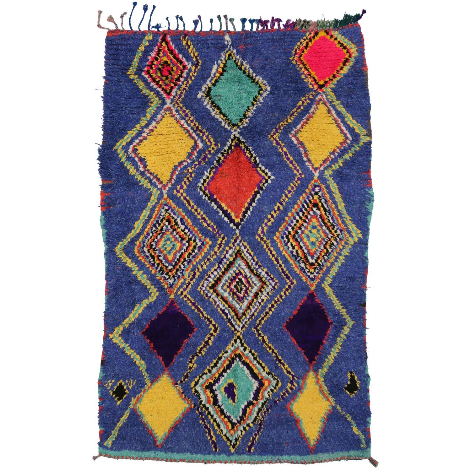 Boho Chic Vintage Moroccan Rug With Tribal Design Blue Moroccan Rug Vintage Moroccan Rugs Moroccan Rug Boho Eclectic Decor
