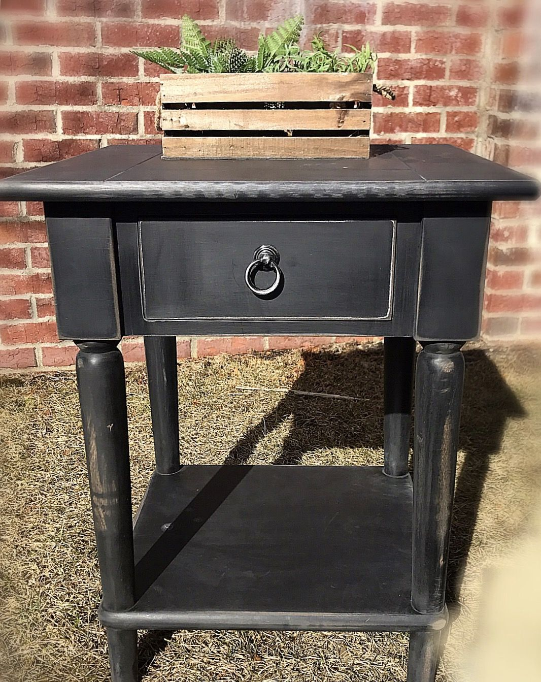 Adorable black rustic vintage looking end table shabby black adorable black rustic vintage looking end table shabby black wood nightstand boho end tablerustic off white wood end tablesmall coffee table farm geotapseo Choice Image