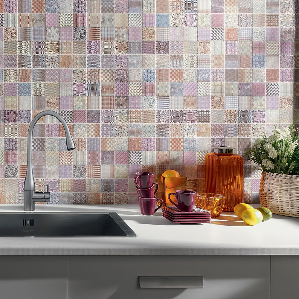 Tiles In Kitchen Pastel Pattern Kitchen Splashback Tiles Pretty Pastels