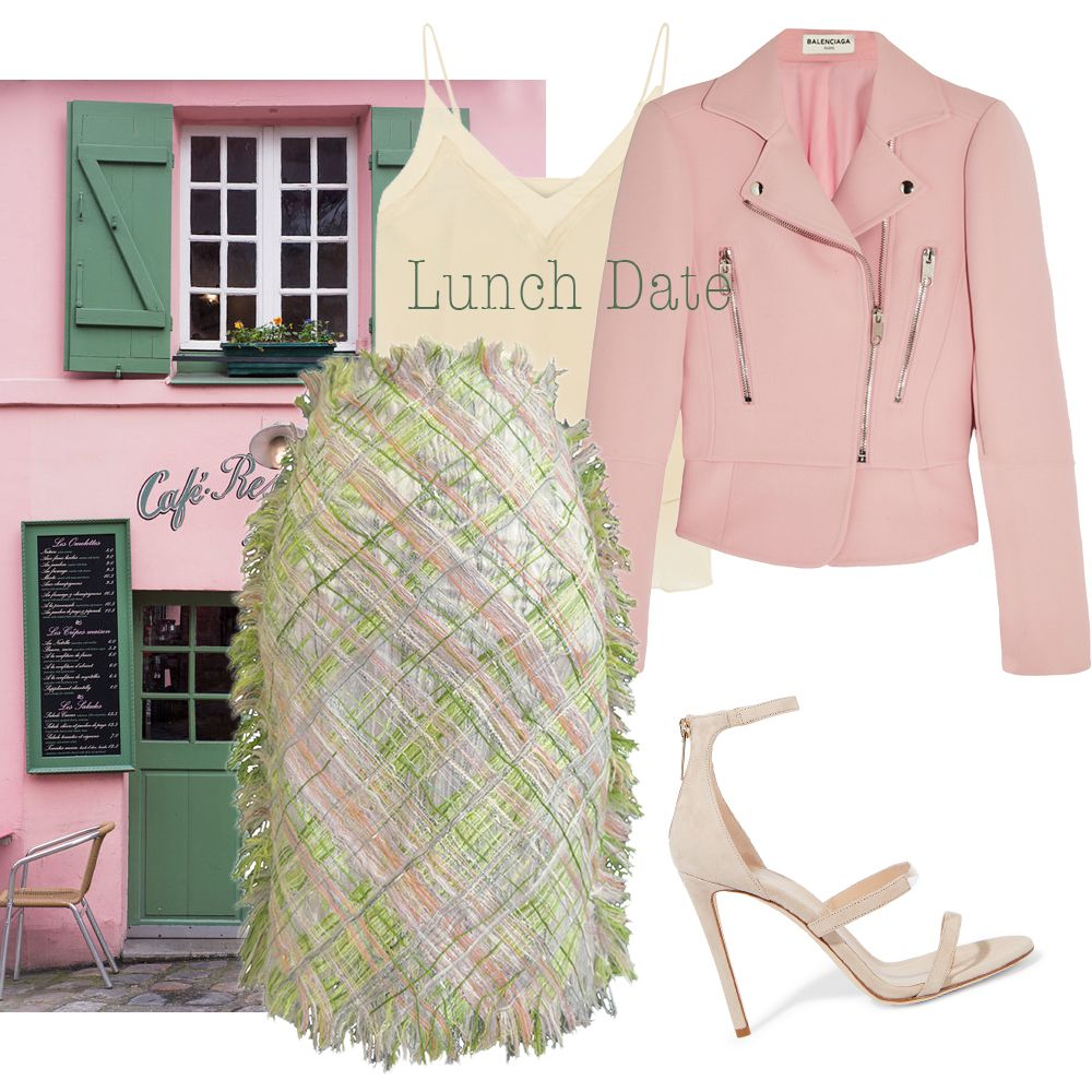 Lunch Date outfit! Match it with the Hellen van Rees SS16 hand woven pencil skirt. #date #outfit #wtw #howtowear #pinkjacket #bikerjacket #heels #pink #Hellenvanrees
