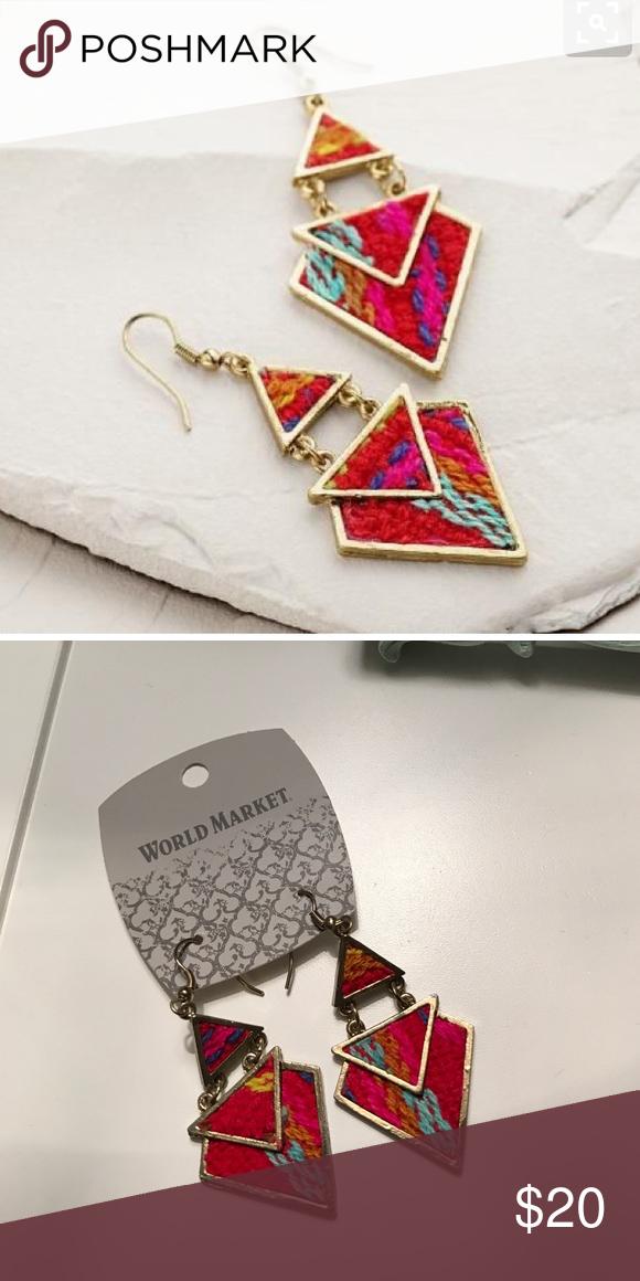 NWT Tribal Drop Earrings Brand new geometric tribal earrings!  Hot pink, mint, yellow, an blue woven throughout.  From World Market NOT ZARA. Zara Jewelry Earrings
