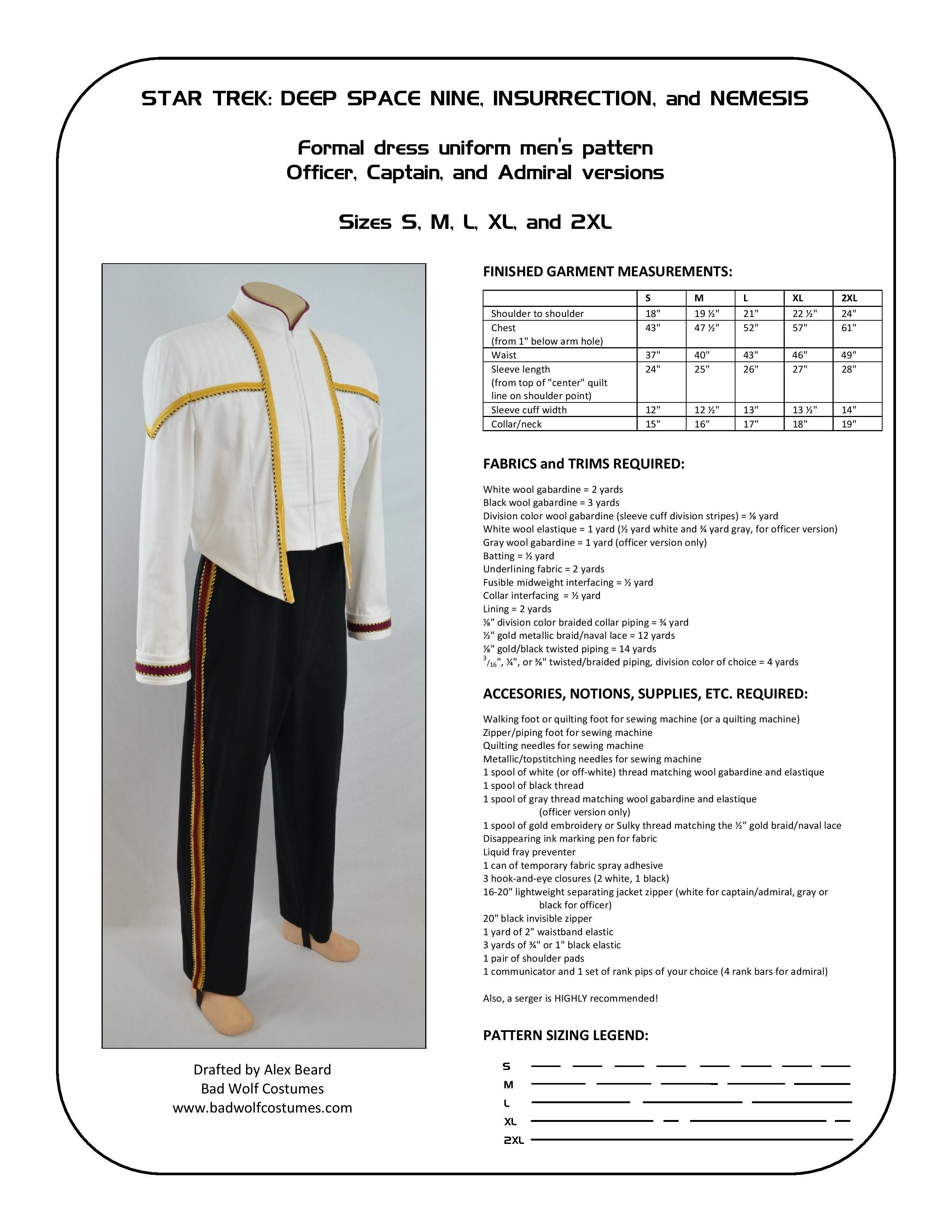 Star Trek: DS9/NEM Men\'s Formal Uniform Sewing Pattern   Star Trek ...