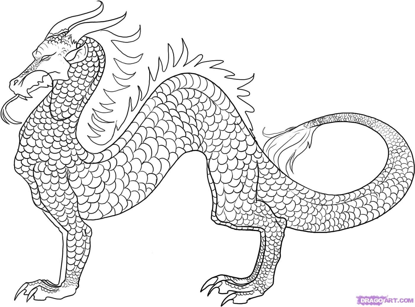 Realistic Dragon Coloring Pages Printable | Japanese Dragon Coloring ...
