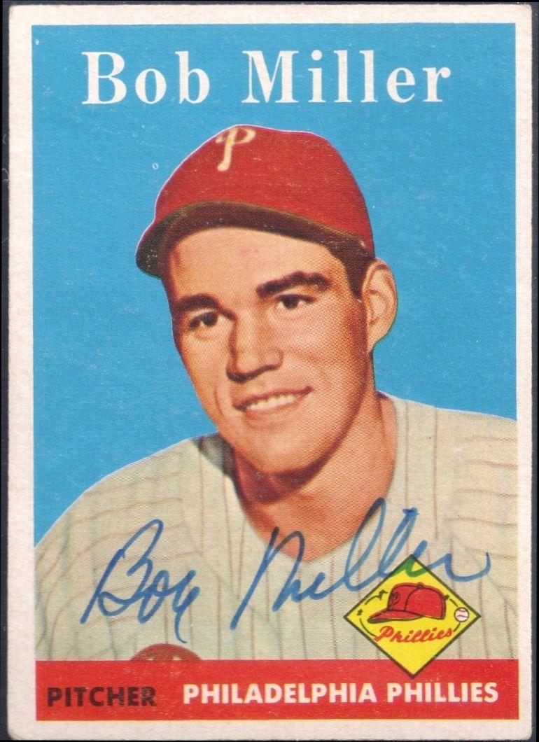 1958 topps bob j miller autograph baseball cards