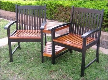 Tete A Chair Outdoor Small With Ottoman Iron Wood Patio Furniture Acacia Modern Chairs