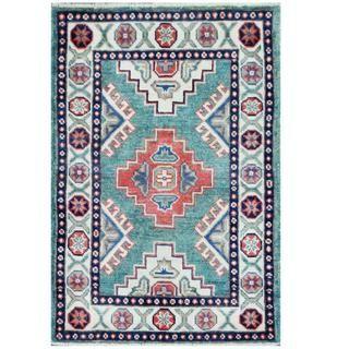 Herat Oriental Afghan Hand-knotted Tribal Kazak Teal/ Ivory Wool Rug (1'11 x 2'10)