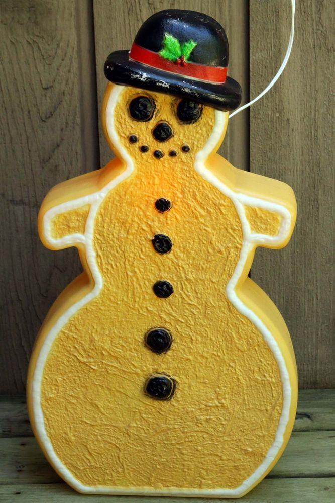 Gingerbread Snowman Blowmold Plastic Featherstone Xmas Yard Decor