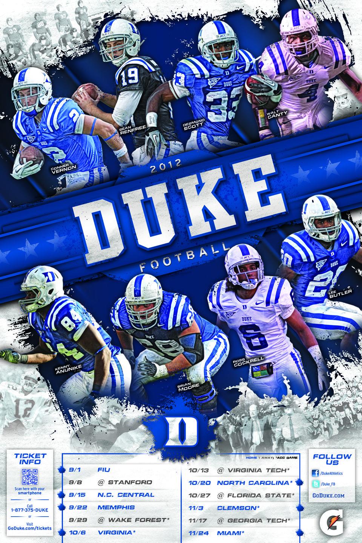 Pin By Duke Marketing On Duke Football Football Poster College Sports Graphics Senior Football