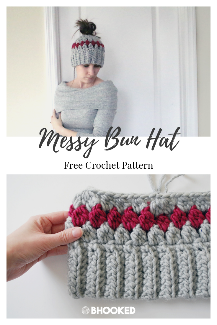 Messy Bun Hat - B.Hooked Crochet & Knitting