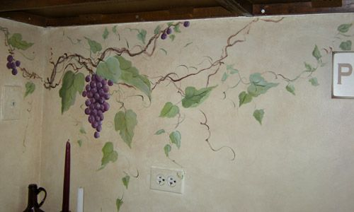 Grapes Wine Vines Hand Painting Wall Murals Painted Hand