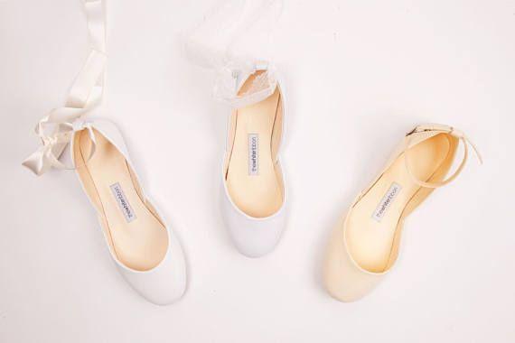 Hochzeitsballerinas aus weichem Leder  flache Schuhe in