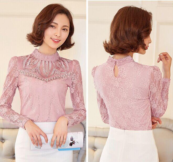 74fae482fc64 Aliexpress.com: Compre Nova primavera senhora Elegante diamantes topos de  renda feminina de manga comprida camisa de renda Sexy oco out Mulheres  blusa Plus ...
