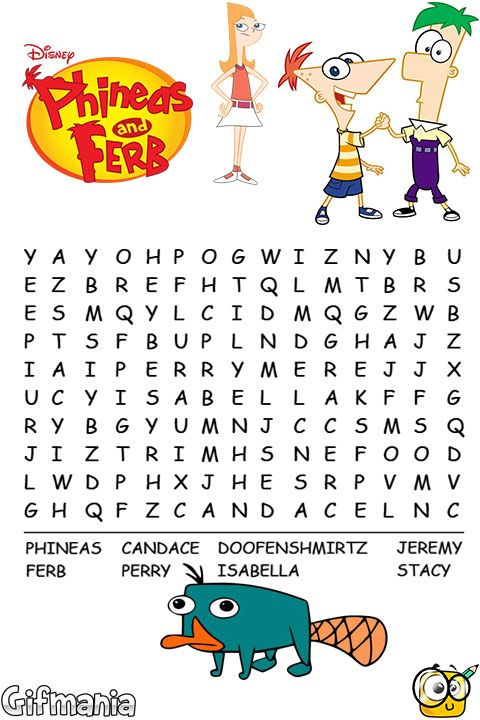 sopa de letras de Phineas y Ferb #phineasyferb #disney #sopadeletras ...