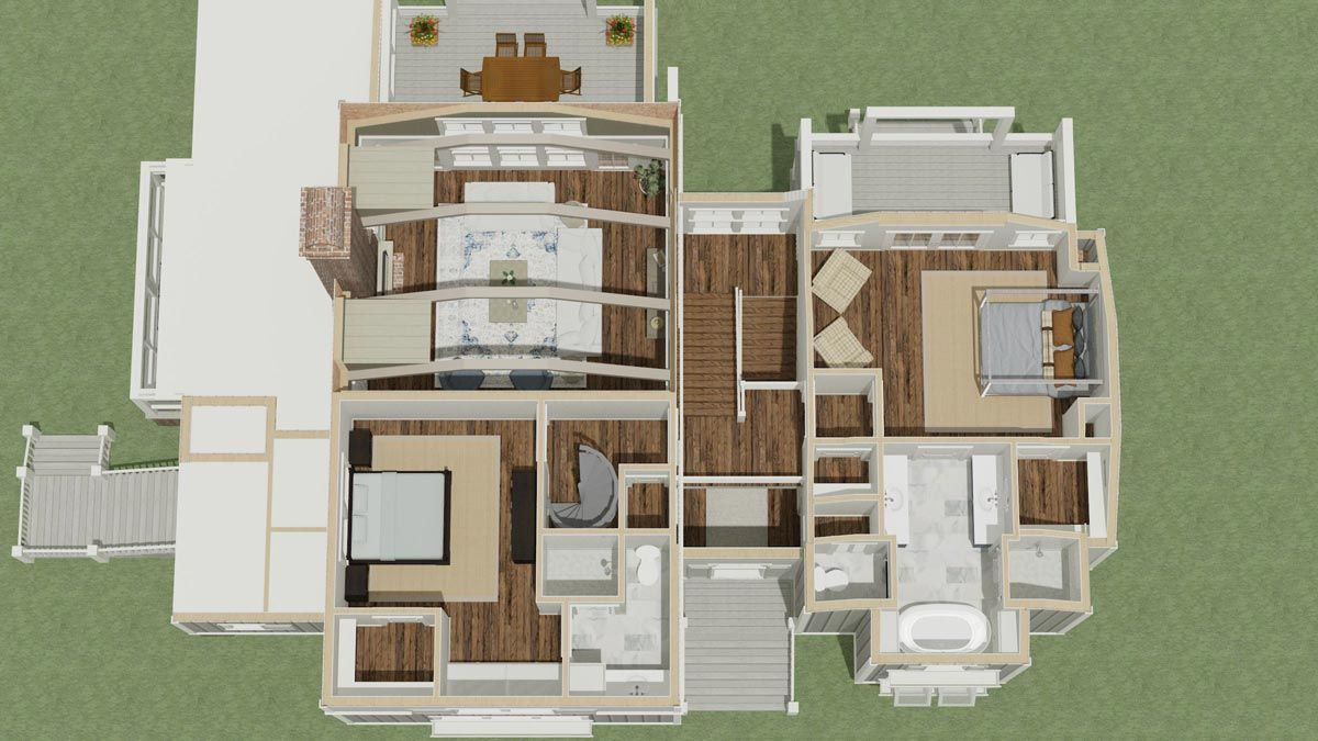 Homes with 2 master bedrooms  Plan LLS EyeCatching Farmhouse with Two Master Suites and a