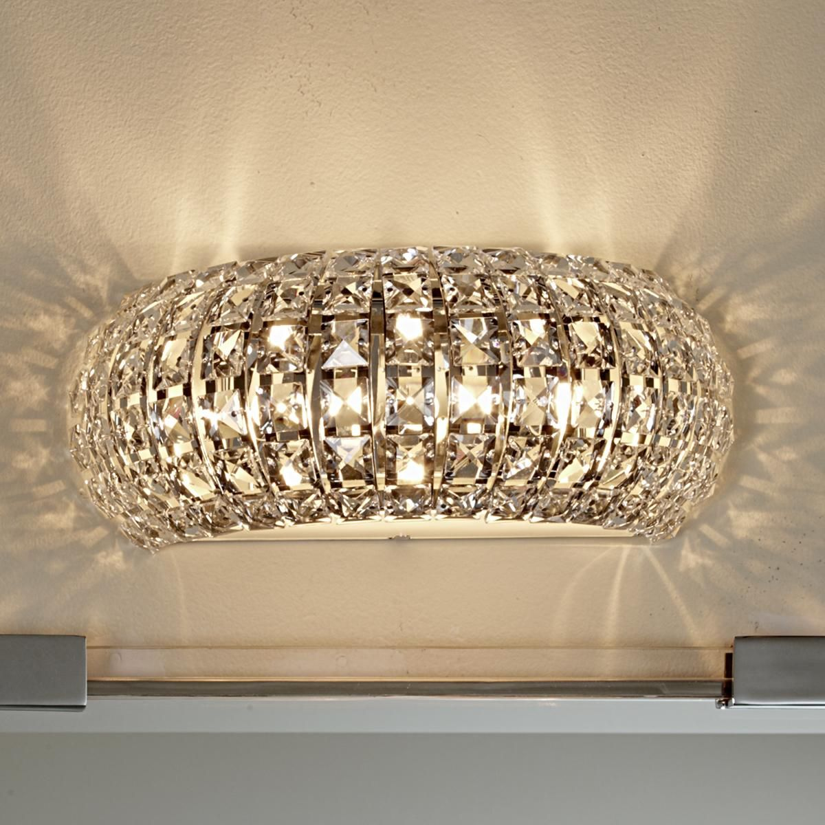 Bathroom Crystal Wall Sconce Light Wall Lighting Hollywood Glam ...